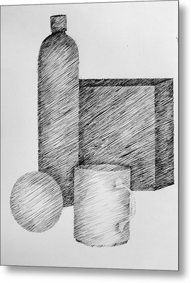 Still Life With Cup Bottle And Shapes Metal Print by Michelle Calkins