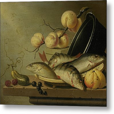 Still Life With Fish And Fruits Metal Print