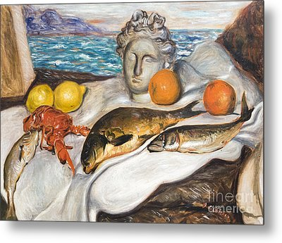 Still Life With Fish By Giorgio De Chirico Metal Print by Roberto Morgenthaler