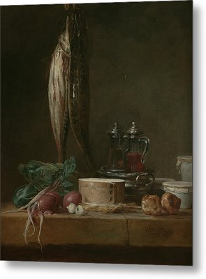 Still Life With Fish, Vegetables, Gougeres, Pots, And Cruets On A Table  Metal Print