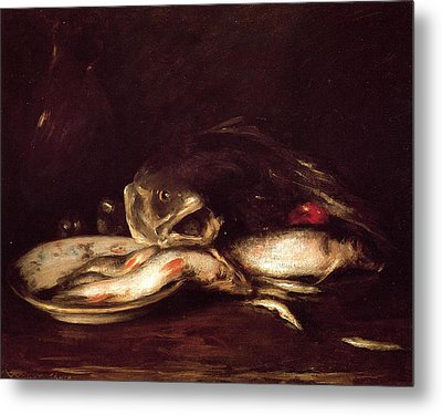 Still Life With Fish Metal Print by William Merritt