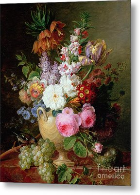 Still Life With Flowers And Grapes Metal Print by Cornelis van Spaendonck