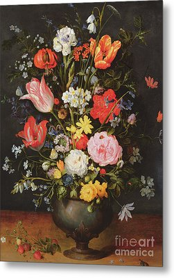Still Life With Flowers And Strawberries Metal Print by Jan the Younger Brueghel