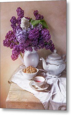 Metal Print featuring the photograph Still Life With Fresh Lilac And China Pots by Jaroslaw Blaminsky