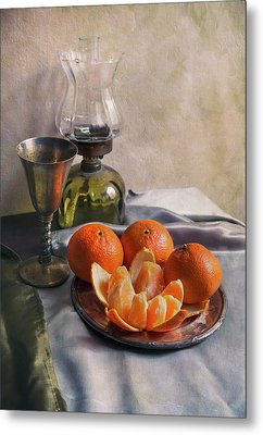 Metal Print featuring the photograph Still Life With Fresh Tangerines And Oil Lamp by Jaroslaw Blaminsky