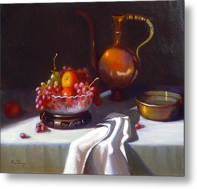 Still Life With Fruit And Cut Glass Bowl Metal Print by David Olander
