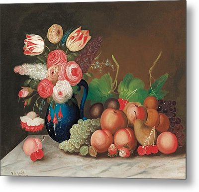 Still Life With Fruit And Flowers Metal Print by William Buelow Gould