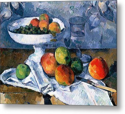 Still Life With Fruit Dish Metal Print by Paul Cezanne
