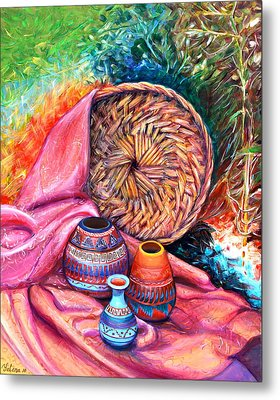 Still Life With Indian Pottery  Metal Print