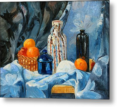 Still Life With Jugs And Oranges Metal Print by Ethel Vrana