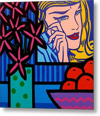 Still Life With Lichtensteins Crying Girl Metal Print by John  Nolan