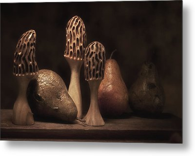 Still Life With Mushrooms And Pears II Metal Print by Tom Mc Nemar