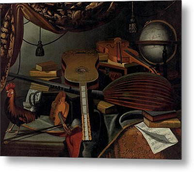 Still Life With Musical Instruments Metal Print by Bartolomeo Bettera