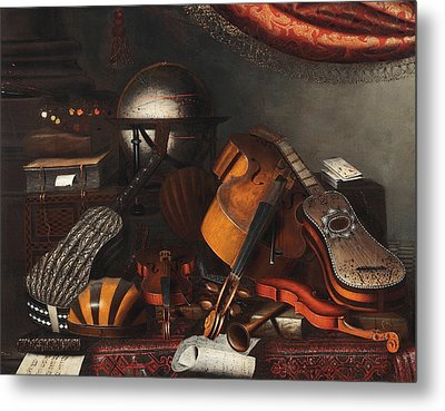 Still-life With Musical Instruments, Books And Playing Cards Metal Print by Bartolomeo Bettera