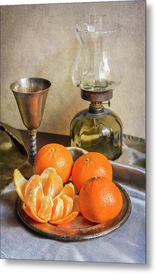 Metal Print featuring the photograph Still Life With Oil Lamp And Fresh Tangerines by Jaroslaw Blaminsky