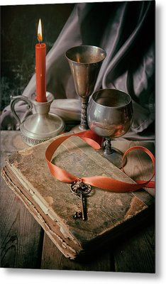 Metal Print featuring the photograph Still Life With Old Book And Metal Dishes by Jaroslaw Blaminsky