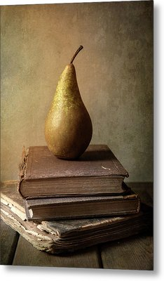Metal Print featuring the photograph Still Life With Old Books And Fresh Pear by Jaroslaw Blaminsky