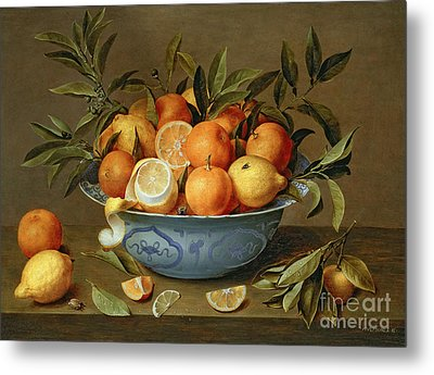 Still Life With Oranges And Lemons In A Wan-li Porcelain Dish  Metal Print by Jacob van Hulsdonck