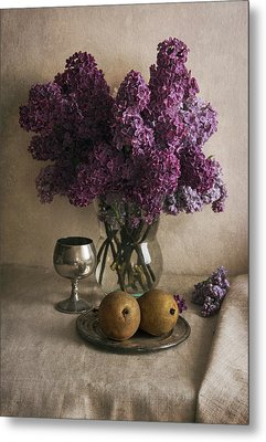 Metal Print featuring the photograph Still Life With Pears And Fresh Lilac by Jaroslaw Blaminsky
