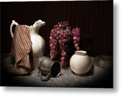Still Life With Pitcher And Grapes Metal Print