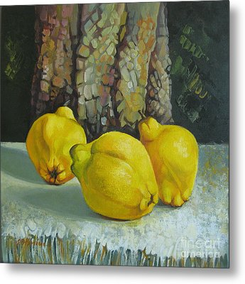 Metal Print featuring the painting Still Life With Quinces by Elena Oleniuc