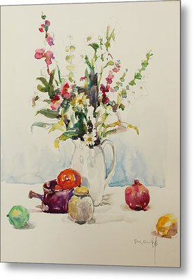 Still Life With Pomegranate Metal Print by Becky Kim