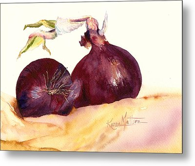 Still Life With Red Onions Metal Print by Karen Mattson