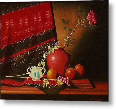 Still Life With Red Vase. Metal Print by Gene Gregory