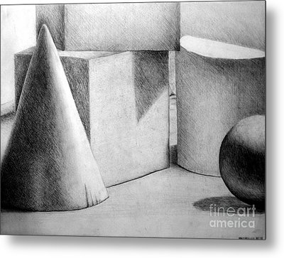 Still Life With Shapes Metal Print by Nancy Mueller