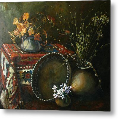Still-life With Snowdrops Metal Print