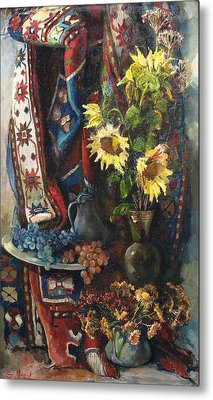 Metal Print featuring the painting Still-life With Sunflowers by Tigran Ghulyan