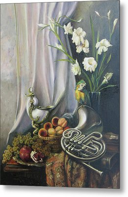 Still-life With The French Horn Metal Print by Tigran Ghulyan