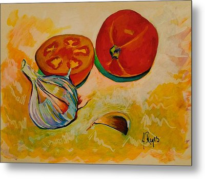Still Life With Tomatoes And Garlic Metal Print
