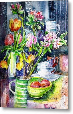 Still Life With Tulips And Apple Blossoms  Metal Print by Trudi Doyle