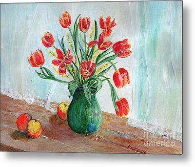 Still Life With Tulips And Apples - Painting Metal Print by Veronica Rickard