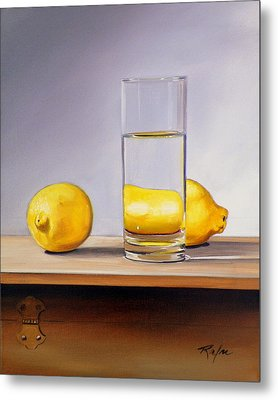 Still Life With Two Lemons And Glass Of Water Metal Print