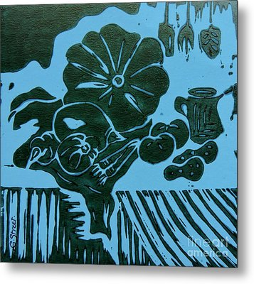 Still-life With Veg And Utensils Green On Blue Metal Print