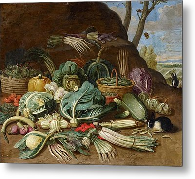 Still Life With Vegetables And A Rabbit Still Life With Fish And Cats In The Kitchen Metal Print by Jan van Kessel