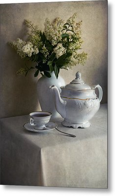 Still Life With White Tea Set And Bouquet Of White Flowers Metal Print