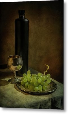 Still Life With Wine And Green Grapes Metal Print by Jaroslaw Blaminsky