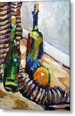 Still Life With Wine Bottles Metal Print by Piotr Antonow