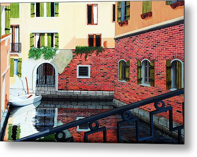 Still, On The Venice Canal, Prints From The Original Oil Painting Metal Print
