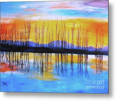 Metal Print featuring the painting Still Waters From The Water Series  by Donna Dixon