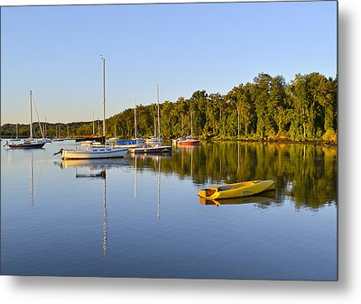 Still Waters On The Potomac River At Belle Haven Marina Virginia Metal Print by Brendan Reals
