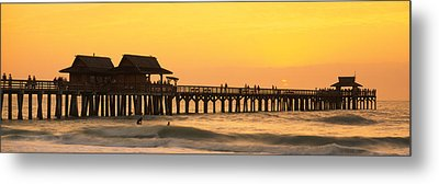 Stilt Houses On The Pier, Gulf Metal Print by Panoramic Images
