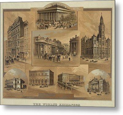 Stock Exchanges In New York, Paris Metal Print by Everett