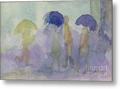 Stomping In The Rain Metal Print by Vicki  Housel