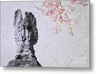 Stone Angel Under Cherry Blossoms Metal Print by Charline Xia