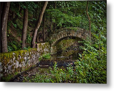 Stone Arch Bridge Path And Flowing Creek Stream In Lush Forest Countryside Landscape Metal Print by Aaron Sheinbein