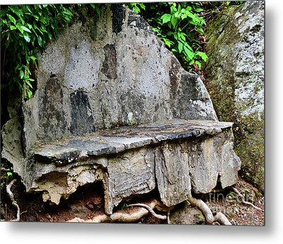 Stone Bench Two Metal Print